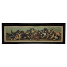 "Antique Kittens & Puppies Yard Long Print c. 1901 ""The Tug of War"" Cats Dogs Victorian Chromolithograph"