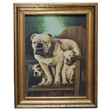 Vintage Bulldog Portrait Painting Dog & Puppies Oil on Board Signed & Dated 1942