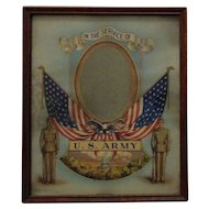 """Vintage Patriotic Picture Frame United States Army Military for a 5"""" x 3 1/2"""" Photo Photograph"""