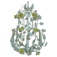 White Italian Tole Bird Cage Chandelier w/ Yellow Roses Flowers