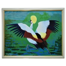 Vintage Painting Gray Crowned Crane Signed Howard Besnia '89 Acrylic on Board Bird Portrait Modern Art