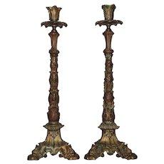 Pair 19th c. Gilt Bronze Victorian Candlesticks