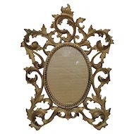 "19th c. French Rococo Style Picture Frame Antique for Miniature Portrait 5 1/4"" x 3 3/4"" Opening"