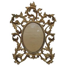 """19th c. French Rococo Style Picture Frame Antique for Miniature Portrait 5 1/4"""" x 3 3/4"""" Opening"""