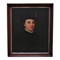 19th c. Portrait Painting Victorian Lady Woman Oil on Board Antique