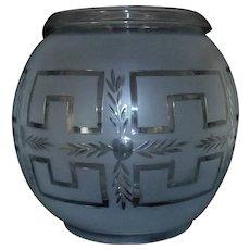 """19th c. Solar Lamp Shade Oil Kerosene Sinumbra Astral Antique 5 1/2"""" Fitter"""