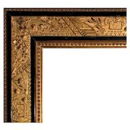 "Fancy 19th c. Picture Frame Gilt Wood & Gesso Victorian for Antique Painting Print Portrait 14 1/4"" x 18 1/4"" Opening Butterflies Cattails"