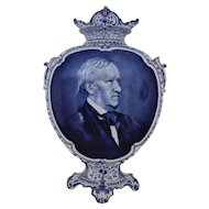 "19th c. Royal Bonn Delft 19"" Portrait Vase Richard Wagner German Opera Composer Blue & White Antique"