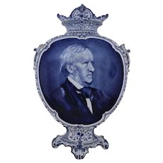 "19th c. Royal Bonn Delft 19"" Portrait Vase Richard Wagner German Opera Composer Blue & White Antique"