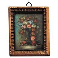 Antique Miniature Oil Painting Still Life Garden Flowers Roses Signed Harsen