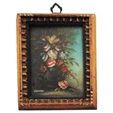 Antique Miniature Oil Painting Still Life Garden Flowers Roses Signed Harsen