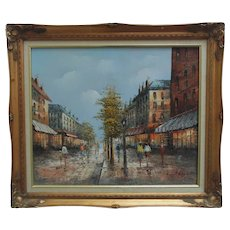 Vintage Paris France Oil Painting French Street Scene Signed Henri Rogers Modern