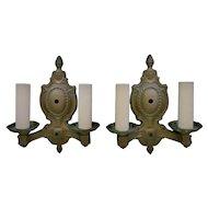 Pair of Antique Wall Sconces Lamps Gilt Metal