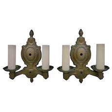 Pair of Antique Wall Sconces Lamps Gilt Metal