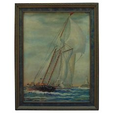 Sailboat & Lighthouse Oil Painting Sailing Seascape Nautical Signed T. Garde
