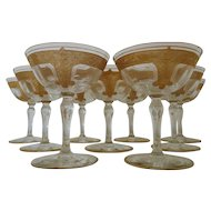Set of 9 Glastonbury Lotus Champagne Glasses Gold Encrusted & Etched Martha Pattern