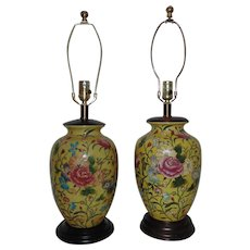 Pair Frederick Cooper Yellow Table Lamps w/ Roses Chinese Asian Motif Floral Flowers
