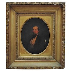 19th c. Portrait of Providence Worcester Railroad Treasurer John Rogers Balch Antique Painting over a Photograph