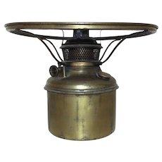 """19th c. Bradley & Hubbard Brass Kerosene Oil Lamp Font Burner & 10"""" Shade Ring Antique B & H"""