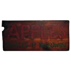 Antique APPLES Wood Advertising Sign Hand-Painted Charles P. Baldwin Folk Art Primitive