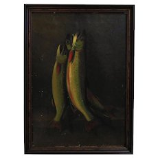 19th c. Fish Painting Oil on Canvas Fishing Antique