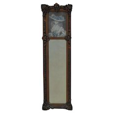 19th c. French Portrait Trumeau Mirror Young Lady Antique Victorian Gilt Wood & Gesso Frame