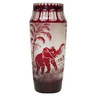 RARE Moser Cameo Ruby Art Glass Elephant Vase Cut to Clear & Frosted Animor Bohemian