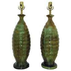 FABULOUS Pair of Table Lamps Mid Century Modern Drip Glaze Green & Brown Beehive