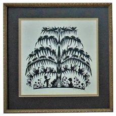 Vintage Hand-Cut Silhouette Black & White Children Tree of Life Animals Hearts Signed & Dated Folk Art