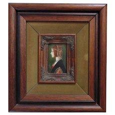 Antique Miniature Portrait of an Elizabethan Lady Woman Oil Painting