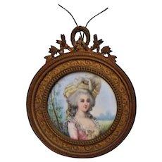 Antique French Miniature Portrait of Marie Antoinette Watercolor Painting