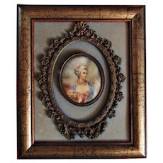 Antique French Miniature Portrait of Marie Antoinette Watercolor Painting Signed