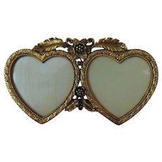 Vintage Double Heart Picture Frame for Miniature Portrait Paintings Photographs Photos