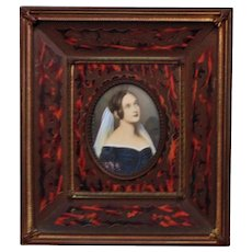 Antique French Miniature Portrait of a Lady Woman Watercolor Painting Signed