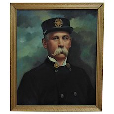 Antique Portrait Painting of Fire Chief Oil on Canvas Fireman Firefighter Signed J. R. Fulton 1909