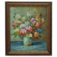 Vintage Still Life Painting Roses Flowers Floral Oil on Canvas Signed
