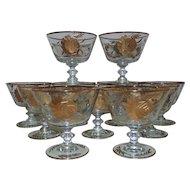Set of 10 Vintage Crystal Sherbet Dessert Glasses Gilt Etched Roses Flowers Floral Mid Century Modern