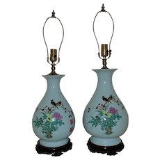 Pair of Chinese Vase Form Lamps Asian