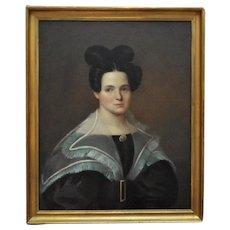 1 of 2 - 19th c. Portrait Paintings - Lady Woman Wife Oil on Canvas Antique American School
