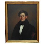 1 of 2 - 19th c. Portrait Paintings - Man Gentleman Husband Oil on Canvas Antique American School