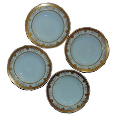 4 Minton for Tiffany & Co. Soup Bowls Gold & White - Near Mint Condition!
