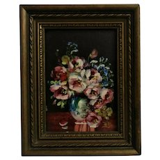 Antique Miniature Oil Painting Roses Still Life Flowers Signed Glenn Bastian