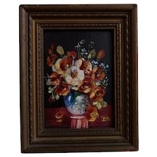 Antique Miniature Oil Painting Still Life Garden Flowers Signed Glenn Bastian