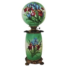 19th c. Orchid Banquet Lamp Oil / Kerosene Converted Antique Victorian Gone With the Wind Flowers