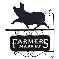 Vintage Pig Farmers Market Advertising Trade Sign Farm
