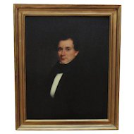 19th c. Portrait Painting Gentleman Man Antique Victorian Oil on Board American School
