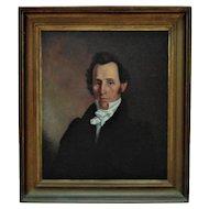 19th c. Portrait Painting Gentleman Man Antique Victorian Oil on Canvas