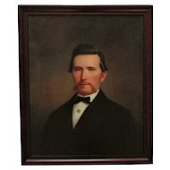 19th c. Portrait Painting Gentleman Man Husband Oil on Canvas Antique Victorian