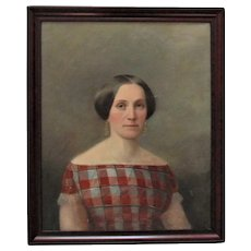 19th c. Portrait Painting Woman Lady Wife Oil on Canvas Antique Victorian