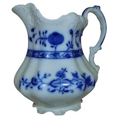 19th c. English Pitcher Flow Blue Onion Antique Holland Pattern for a Vase